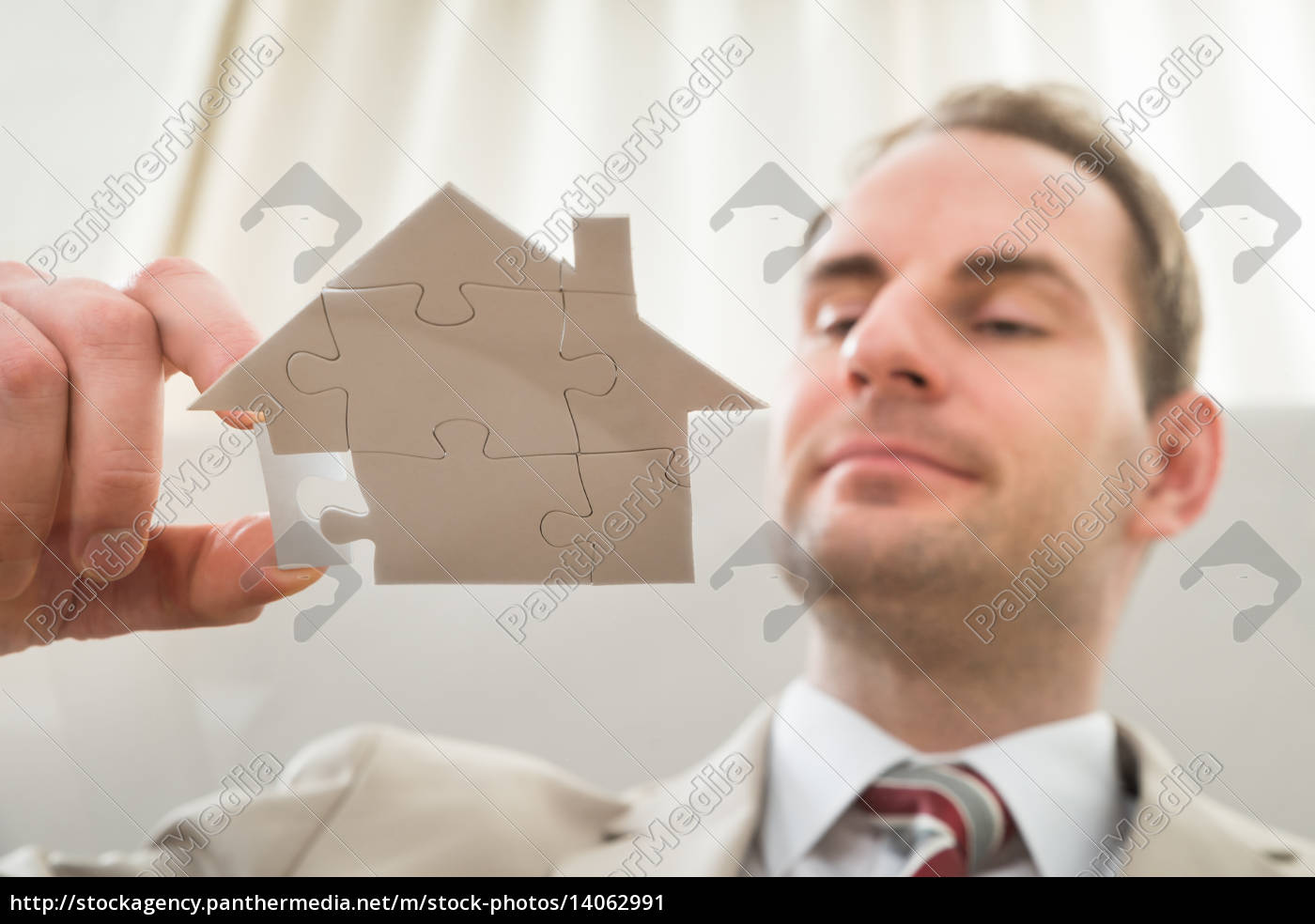 businessman, with, house, shape, puzzle - 14062991