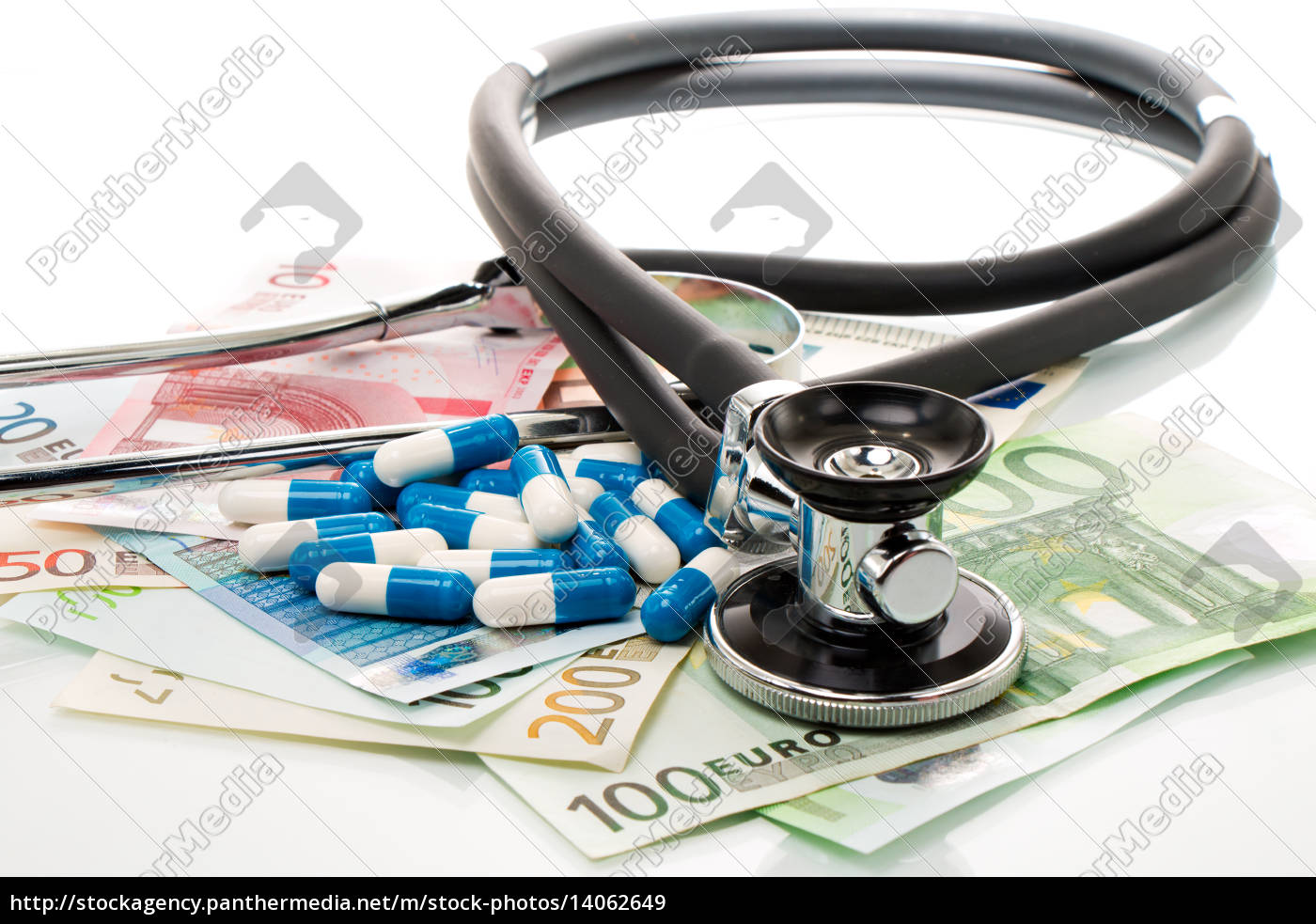 health, costs, stethoscope, and, euro, bills - 14062649