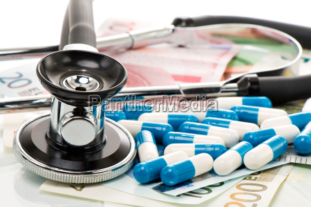 health, costs, stethoscope, and, euro, bills - 14062655