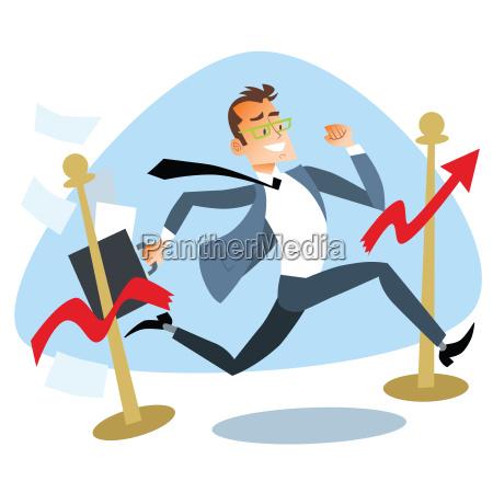 businessman running breaks the finish tape