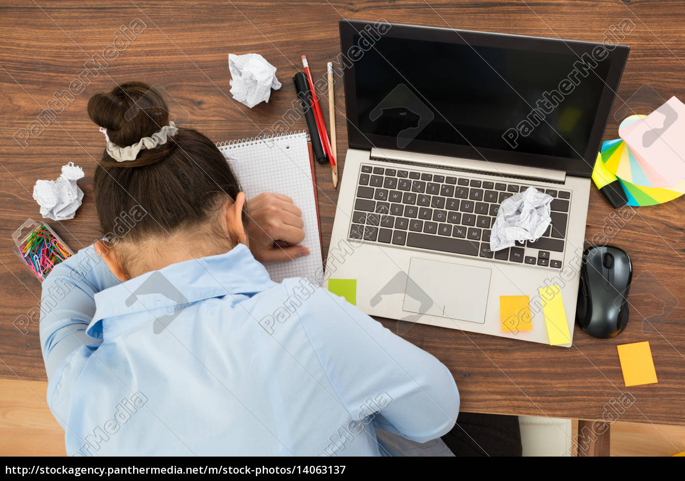 businesswoman, doing, head, down, on, desk - 14063137