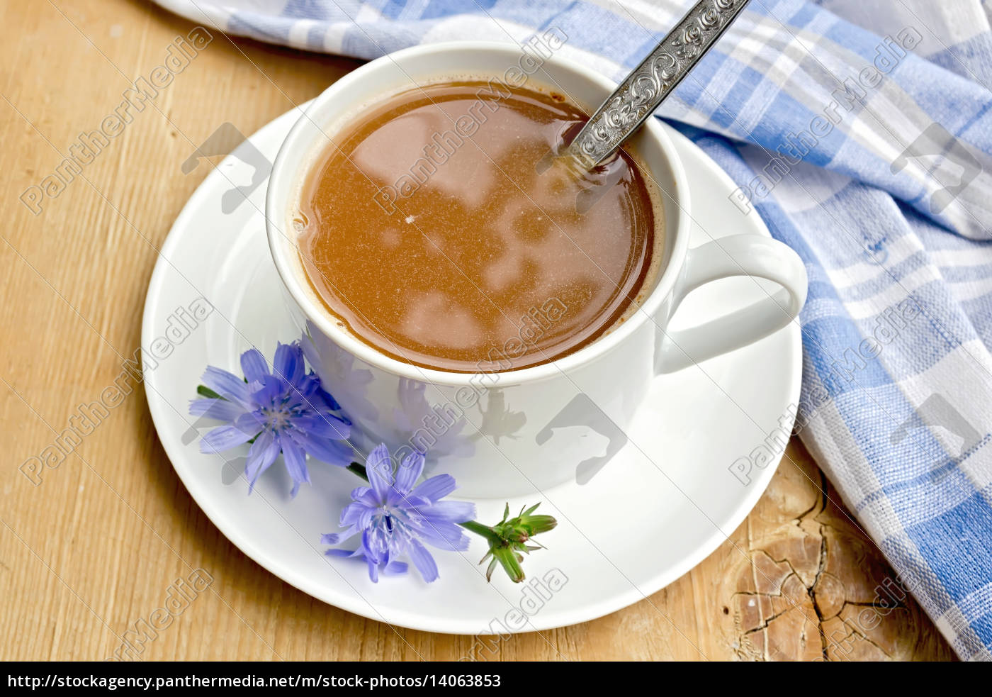 chicory, drink, in, white, cup, with - 14063853