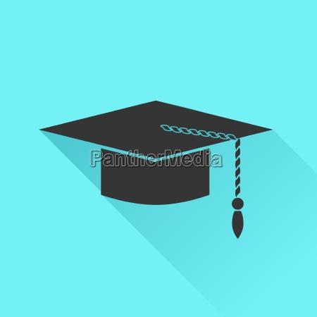 graduation, cap, icon, isolated, on, azure - 14063685