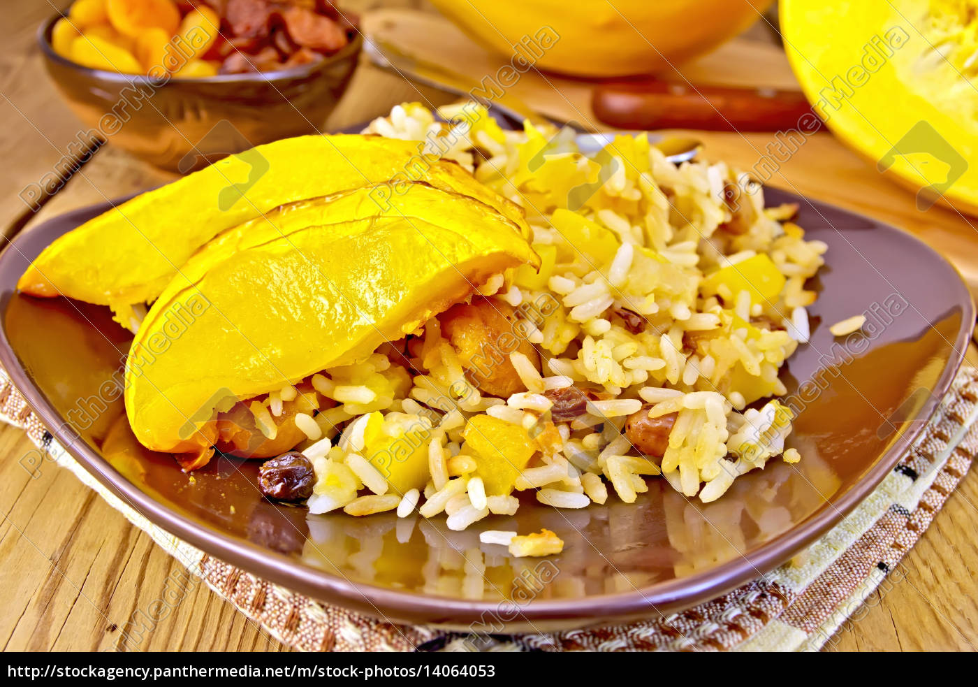 pilaf, fruit, with, pumpkin, in, brown - 14064053