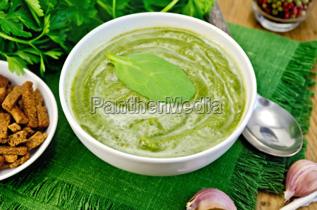 puree, green, with, spinach, and, croutons - 14064087