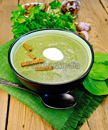 puree, of, spinach, with, croutons, on - 14064095