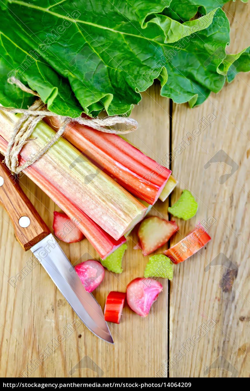 rhubarb, cut, with, leaf, on, a - 14064209
