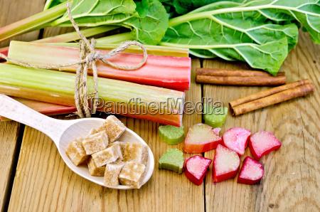 rhubarb, with, sugar, and, cinnamon, on - 14064203