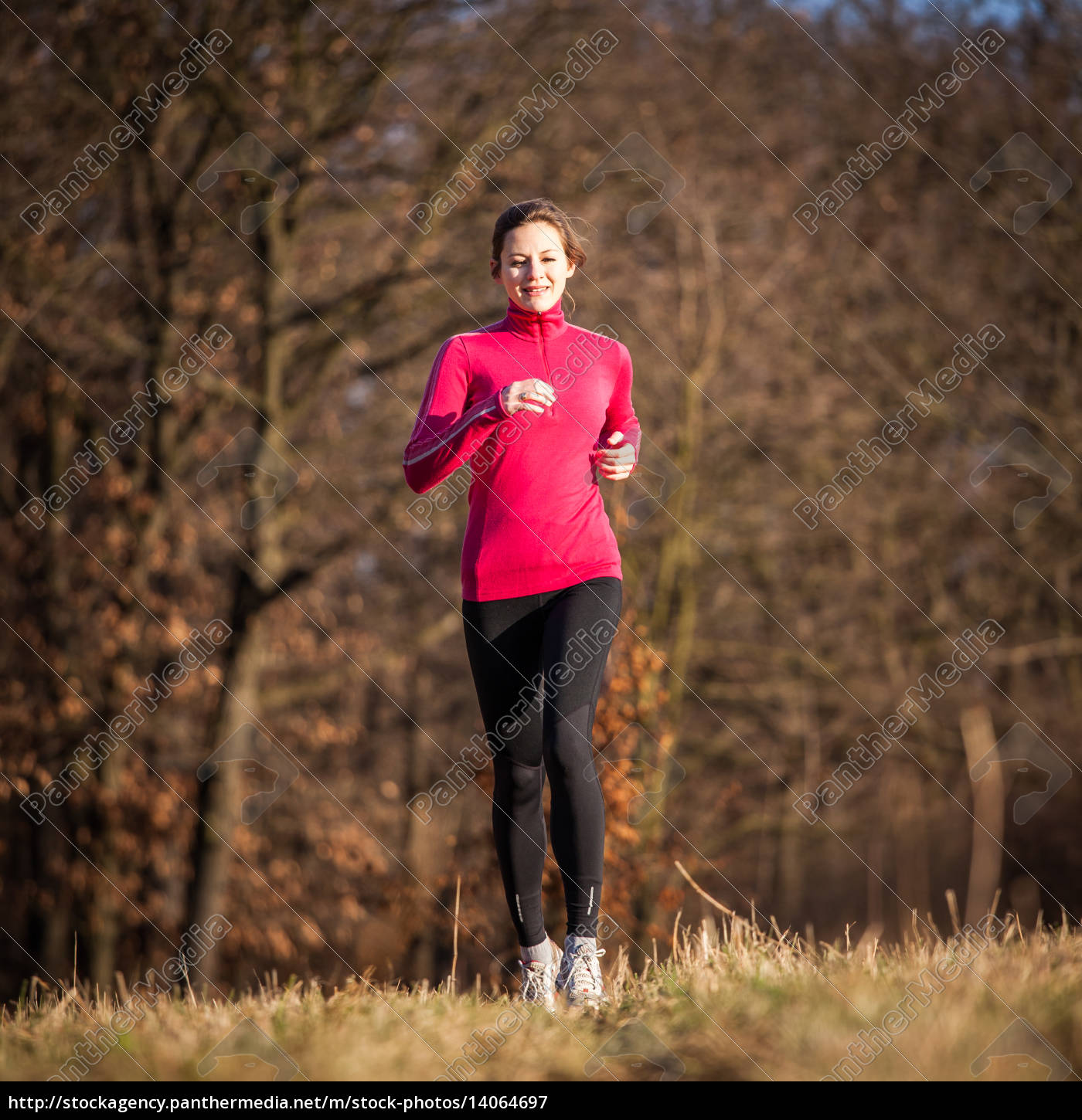 young, woman, running, outdoors, on, a - 14064697