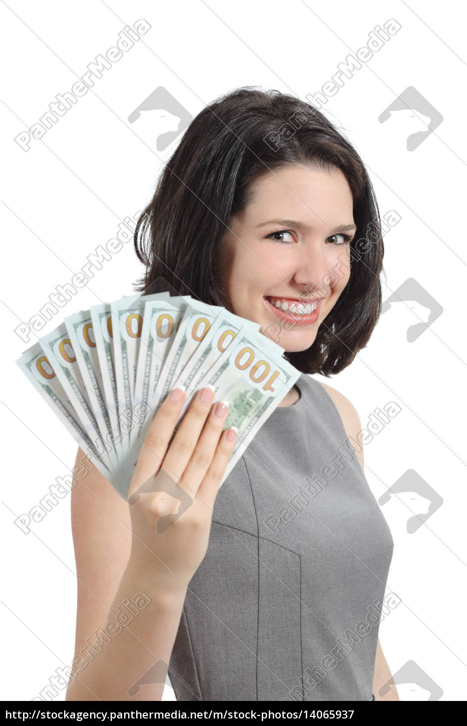 business, woman, showing, money, holding, banknotes - 14065937