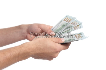 man, hands, holding, and, counting, money - 14065973