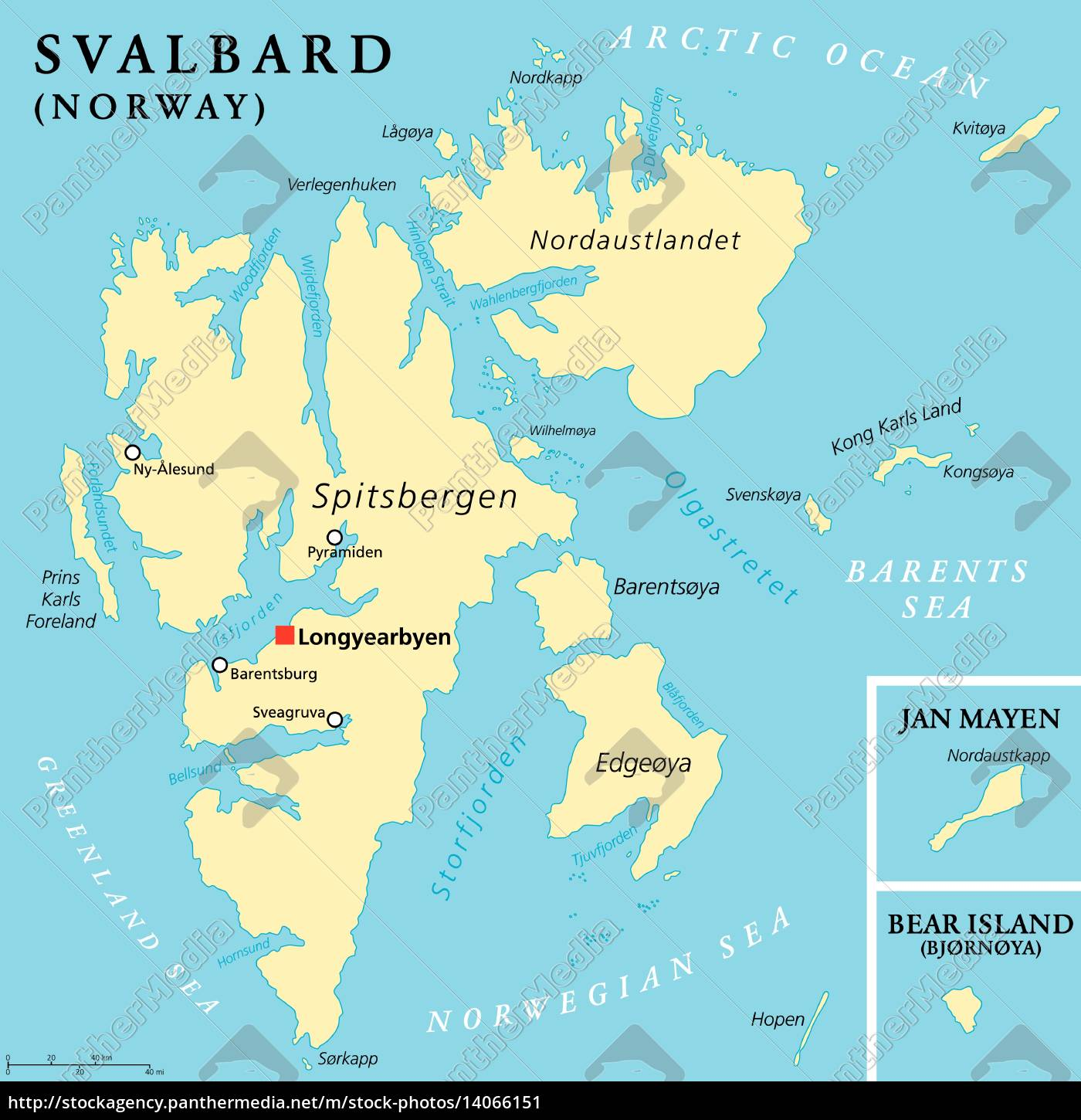 Svalbard Political Map Royalty Free Image 14066151