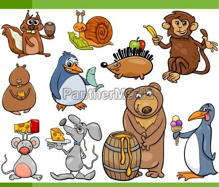 animals, and, food, cartoon, set - 14066709
