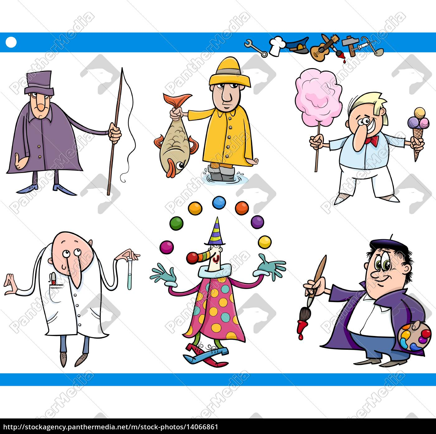 cartoon, people, occupations, characters, set - 14066861