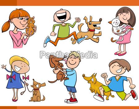 kids, with, pets, cartoon, set - 14066847