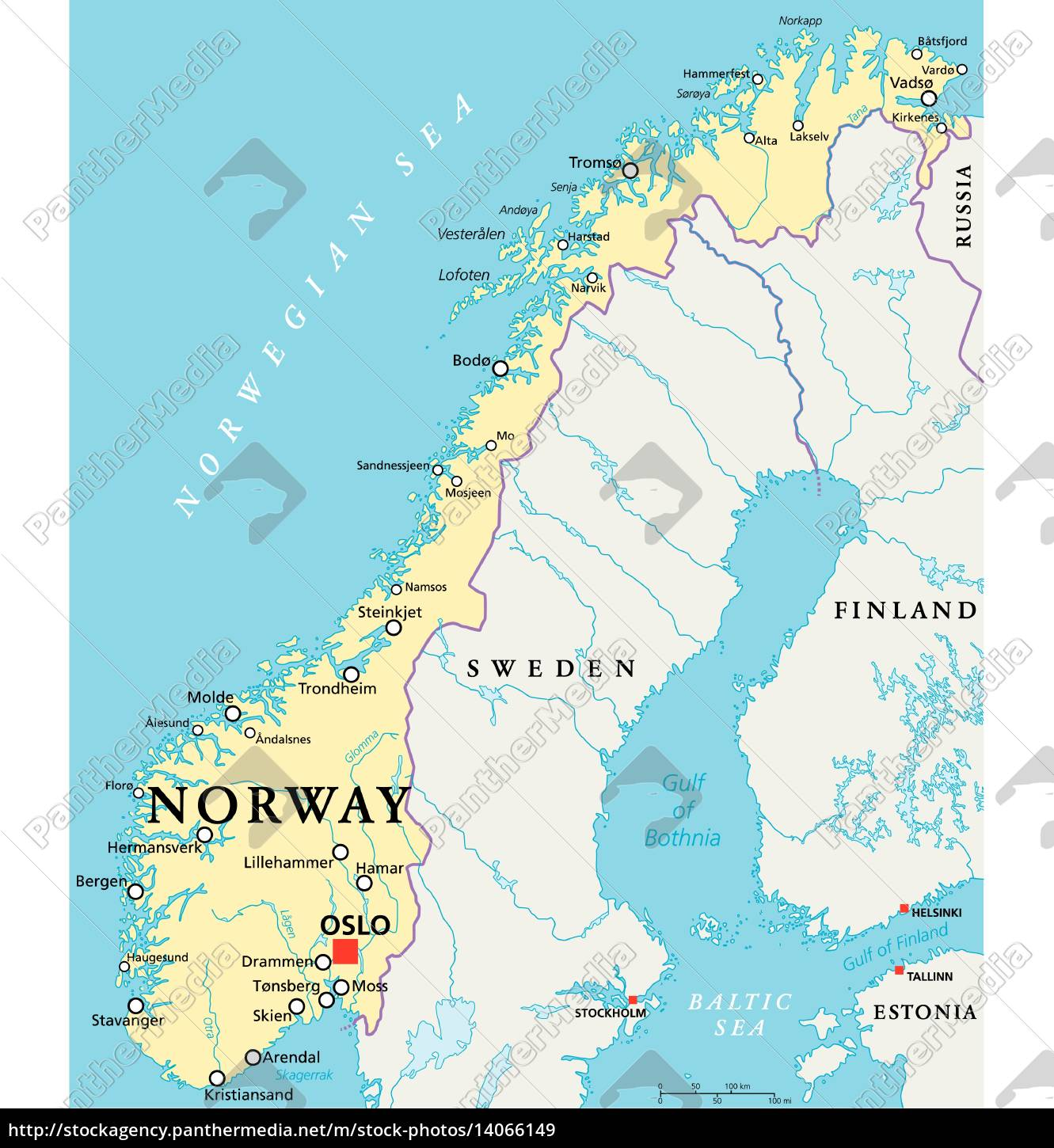 Norway Political Map Stock Photo 14066149 Panthermedia
