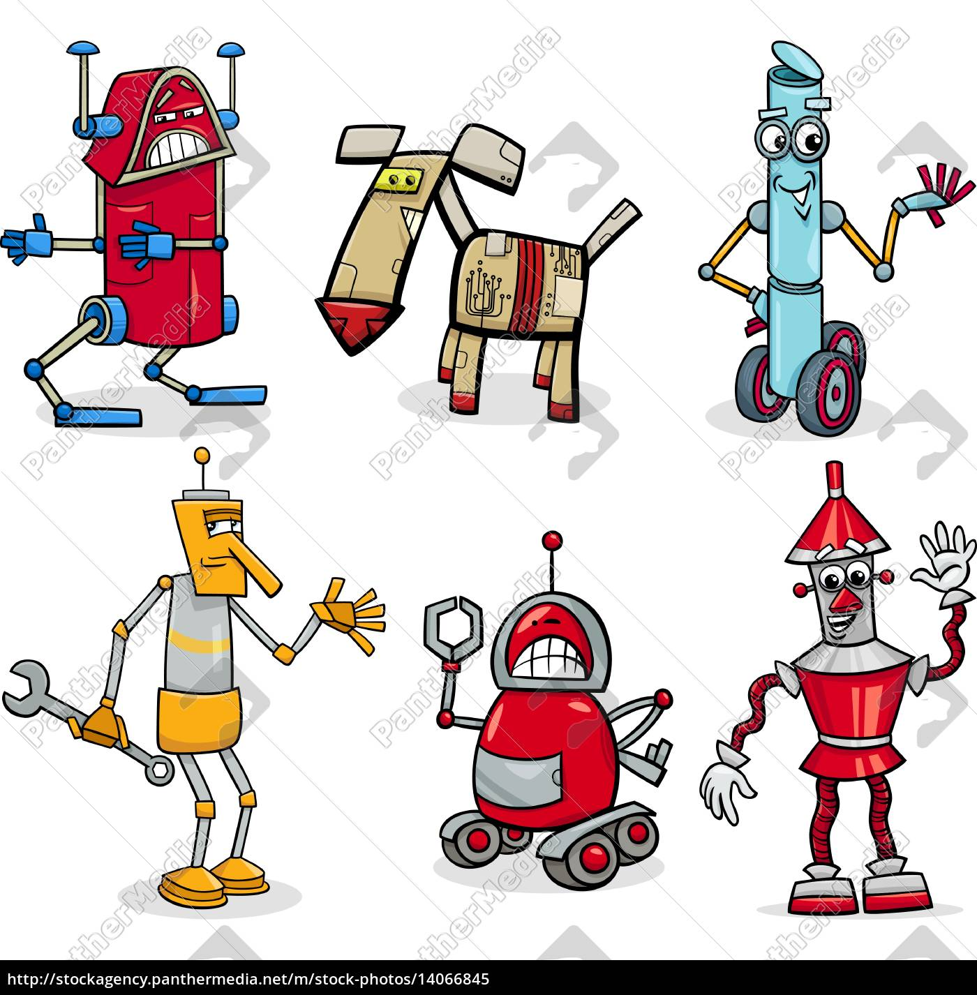 robots, cartoon, illustration, set - 14066845