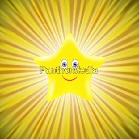 single gold star on yellow