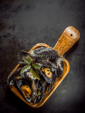 delicious, marinated, mussels, in, a, wooden - 14067977
