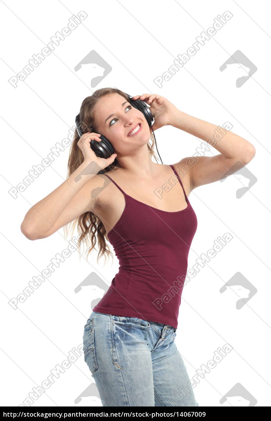 pretty, teenager, girl, dancing, and, listening - 14067009
