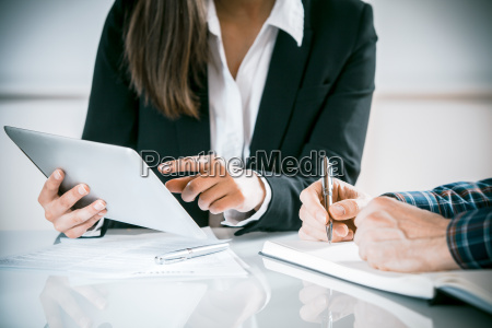 two business people in a meeting