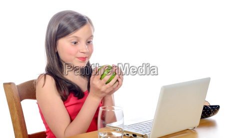 a, little, girl, with, an, apple - 14068981