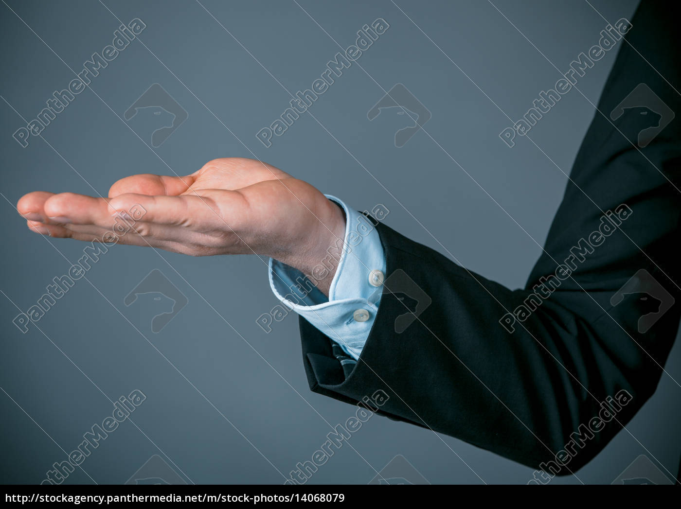 businessman, showing, something, with, copy, space - 14068079