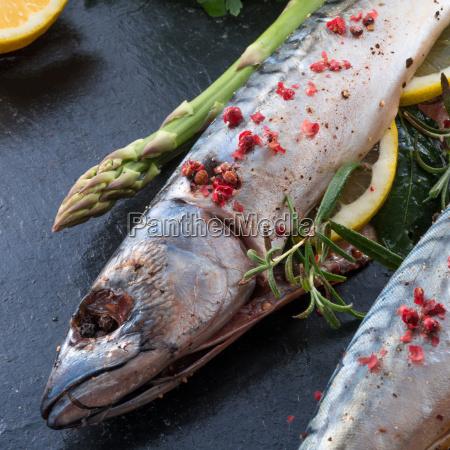 makrele, with, green, asparagus - 14068637