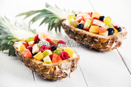 mouth, watering, fruit, salads, in, pineapple - 14068255