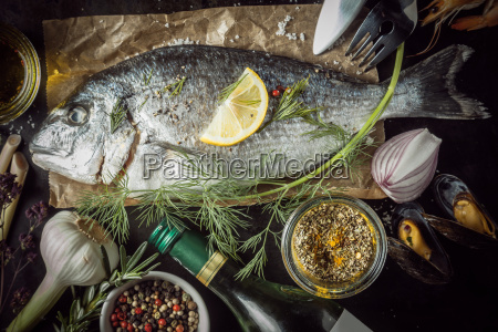 raw, fish, surrounded, by, seasonings, and - 14068277