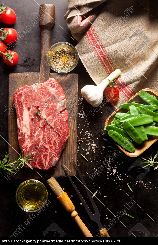 raw, ingredients, for, steak, dinner - 14068279