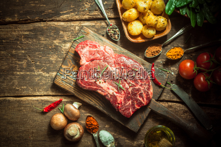 raw, pork, meat, , herbs, , spices, and - 14068271