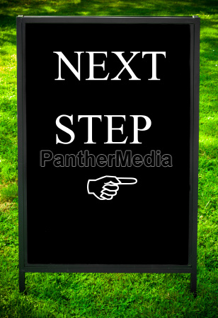 next, step, message, and, hand, pointing - 14069549