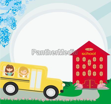 illustration of a school bus heading