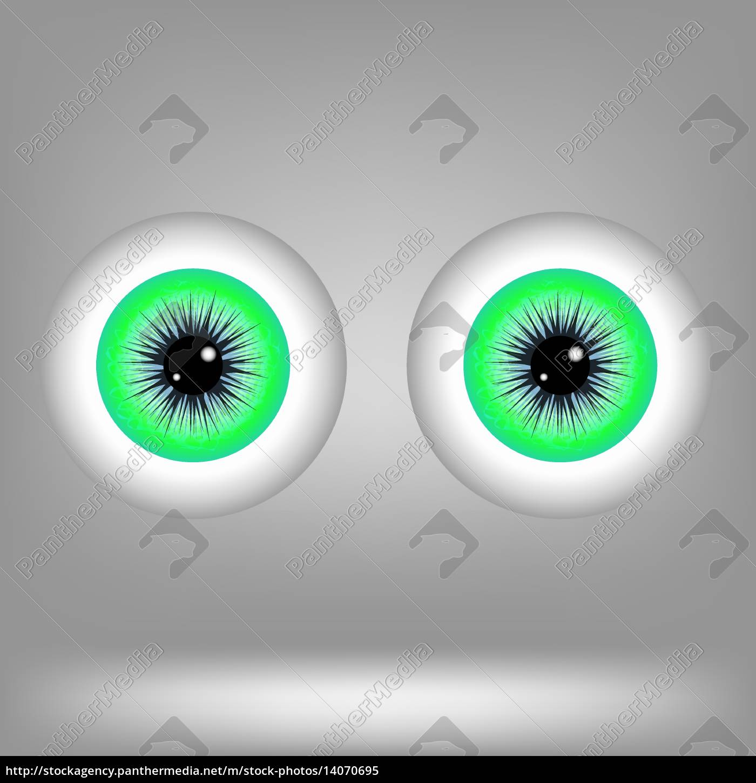 green, eyes, isolated, on, grey, background. - 14070695
