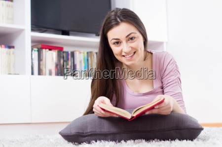 happy, woman, relax, and, reading, book - 14070137