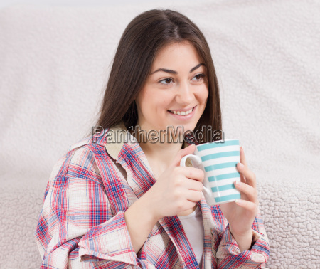 smiling, young, woman, with, cup - 14070059