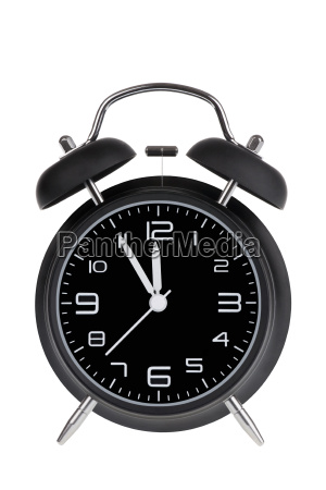 black, alarm, clock, with, hands, at - 14071709
