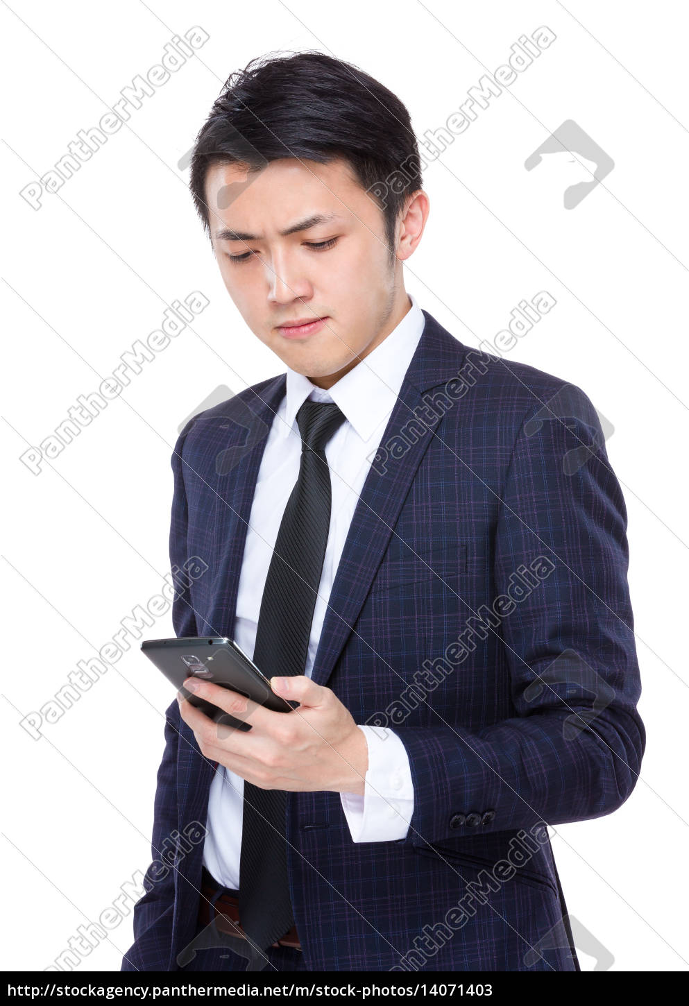 businessman, look, at, cellphone - 14071403