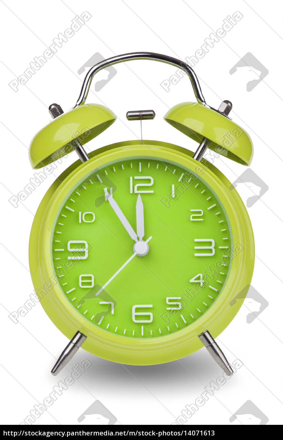 green, alarm, clock, with, hands, at - 14071613