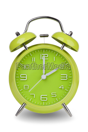 green, alarm, clock, with, hands, at - 14071623