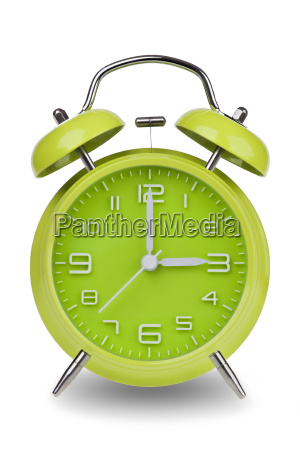 green, alarm, clock, with, hands, at - 14071633