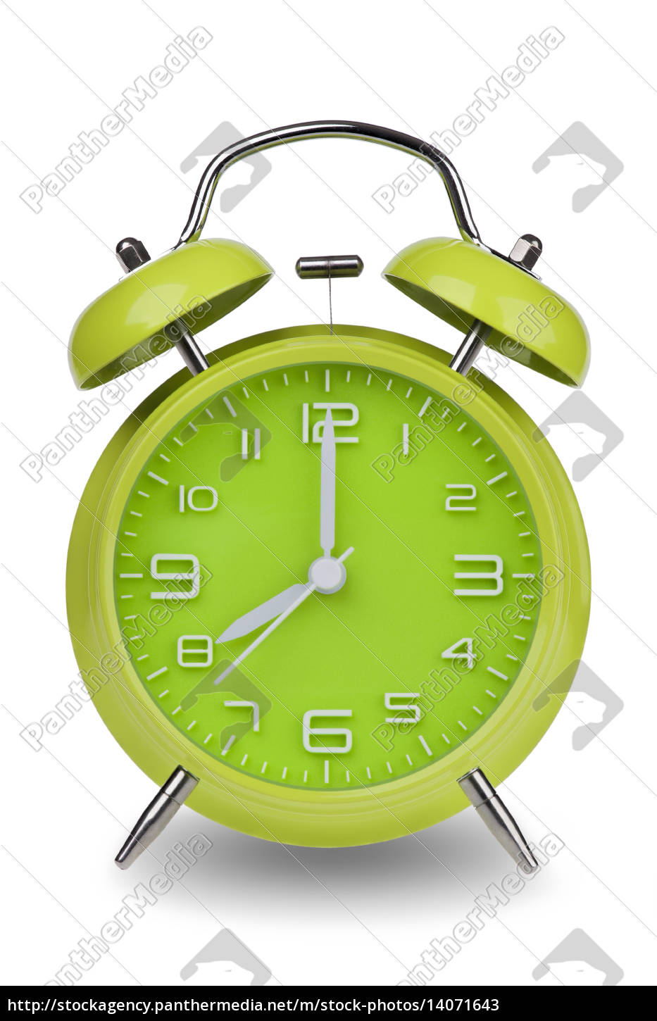green, alarm, clock, with, hands, at - 14071643