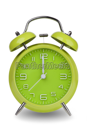 green, alarm, clock, with, hands, at - 14071651