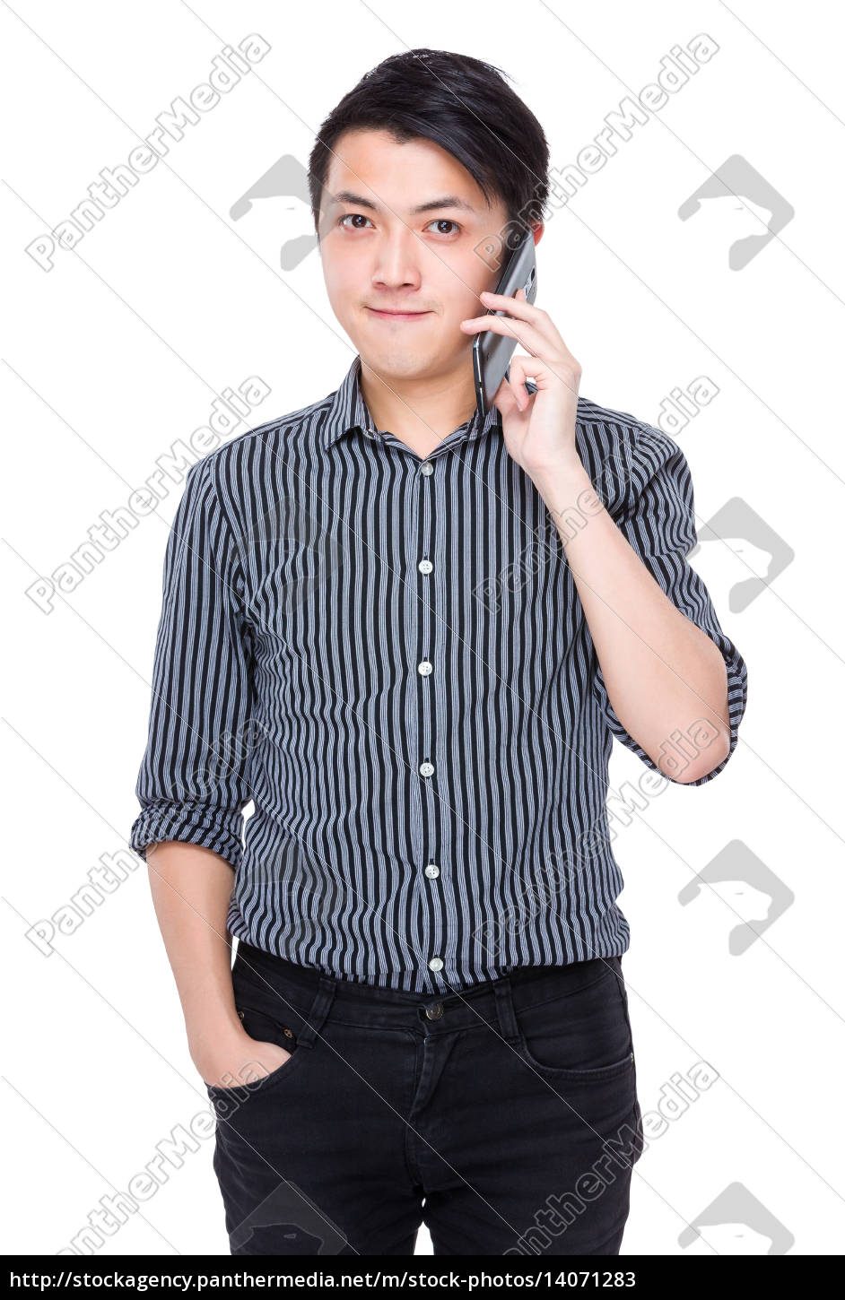 young, businessman, talk, to, mobile, phone - 14071283