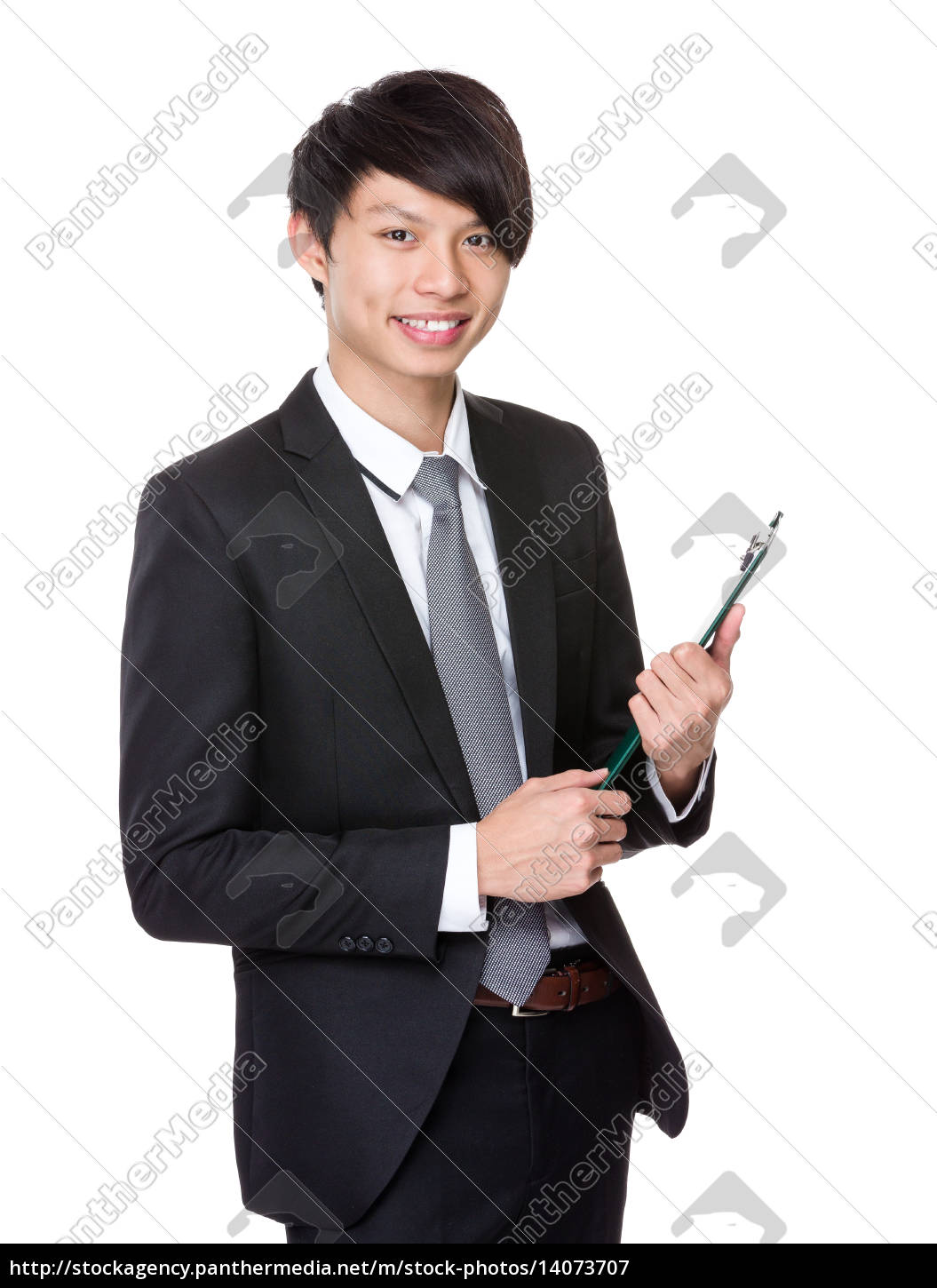 asian, businessman, hold, with, clipboard - 14073707