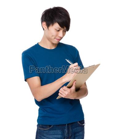 man, write, on, clipboard - 14073635