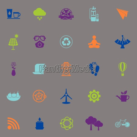 clean concept icons fluorescent color on