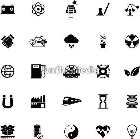renewable energy icons on white background