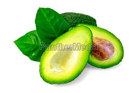 avocado with leaf and bone